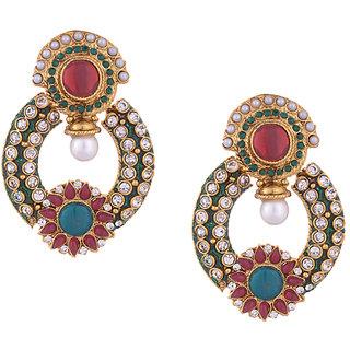 Pearl & Stone Embellished Green Meenakari Dangler Earrings For Women