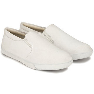 Lzee Men's White Canvas  Shoes