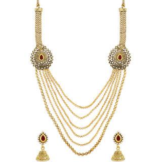 Zaveri Pearls Multi Layer Traditional Necklace Set-ZPFK6367