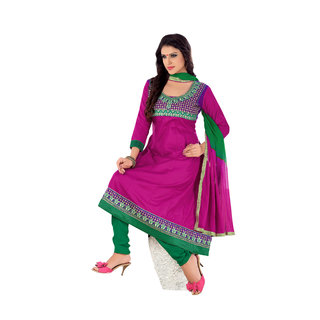 Florence Pink Cotton Embroidered Dress Material (Unstitched)