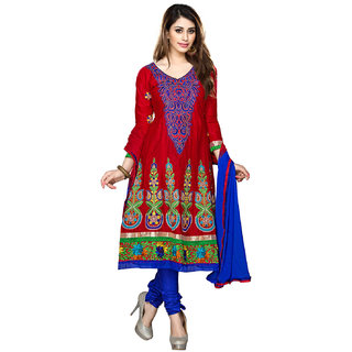 Florence Red & Blue Georgette Embroidered Dress Material (Unstitched)