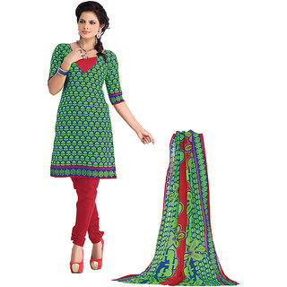 Florence Green & Red Polycotton Printed Dress Material (Unstitched)