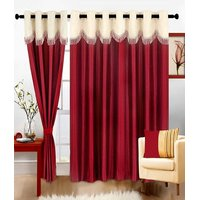 J.D. Handloom 1 Piece Polyester Door Curtain -7 Ft,  Mehroon  Cream