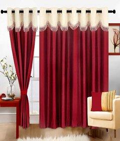 Angel home 1 Piece Polyester Door Curtain -7 Ft,  Mehroon  Cream