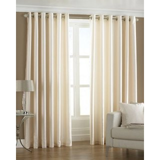 J.D. Handloom 1 Piece Polyester Window Curtain -5 Feet,  Cream