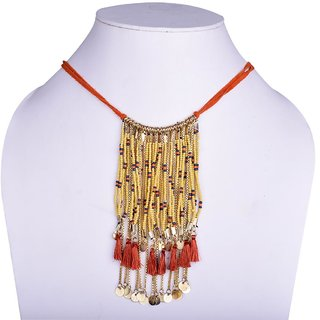 Fascraft Womens Short Length rope Necklace Wrapped With Cotton Cord And Chain Weaved With Cotton Cord Along With Hanging Un-cut And Metal Chains With Gold Finish.