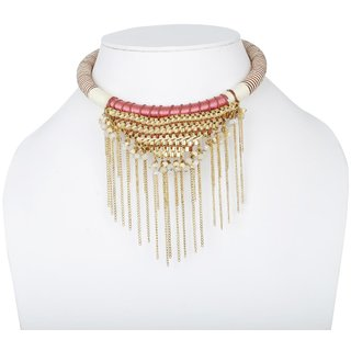 Fascraft Womens Historic Designed Choker with Metal and Cords along with Chains on Gold Finish