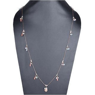 Fascraft Pretty Girly Necklace with Peach and Mint Coloured Charms on Rose Gold Finish