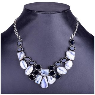 Fascraft Womens Adjustable Length Stone Necklace with Marble Effect on Silver Finish