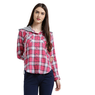 Texco Women Pink & grey Checked Boxy  Shirt
