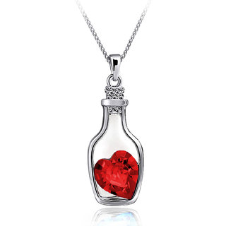 Drift Bottle Shaped Heart Filled Crystal Pendant Clavicle Chain Necklace (Red)