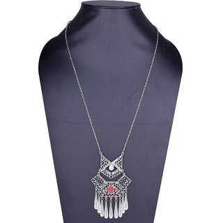 Fascraft Antique designed Womens Long Necklace with Feathers on Oxidized German Silver Finish with Stones