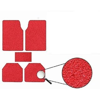 Generic Anti Slip Noodle Car Floor Mats SET OF 5 Red For Tata Manza