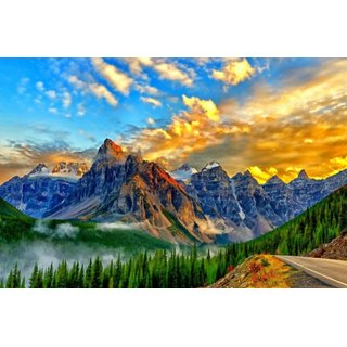 Avikalp Exclusive AZOHP2677 Golden Sky Landscape Path Rocky Mountains Forest Banff National Park Alberta Canadian Full HD Poster Latest Best New 3D Look Beautiful