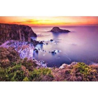 Avikalp Exclusive AZOHP2995 Sea Shore Rock Ocean Orange Sky Sunset Full HD Poster Latest Best New 3D Look Beautiful