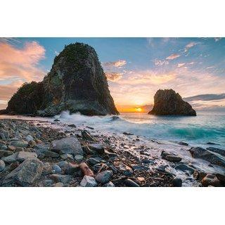 Avikalp Exclusive AZOHP3004 Senganmon Beach Japan Sunset Ocean Coast Volcanic Rock Waves Full HD Poster Latest Best New 3D Look Beautiful