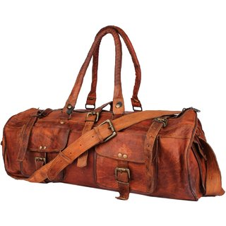 30 Ltrs Brown Gym Leatherite Sports Travel Duffel Gym Bag Leather Bag Messenger FOR ZNT LEATHERS