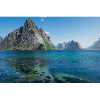 Avikalp Exclusive AZOHP3054 Stone Mountains In The Sea Norway Island Lofoten Nature Landscape Full HD Poster Latest Best New 3D Look Beautiful