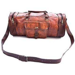 Leather 30 Liter Unisex Brown Single Travel Leather Duffel Bag - TB 001 BROWN Leather SINGLE Gym Collage Bag For Znt Leather