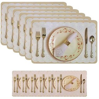 AH Designer Plastic 6 Seater Dining Table Placemats Set of 6 Pcs With 6 Tea Coasters