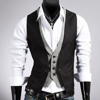 DOUBLE WAISTCOAT BLACK Mens Casual Fashion V-neck Double Layered Fit Vest Waistcoat Slim Jacket Tops