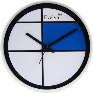 Evelyn Round Wall Clock With Glass For Home / Bedroom / Living Room / Kitchen Evc-083 (WH)