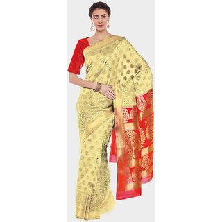 Chhabra 555 Gold & Red  Coloured Banarasi  Silk Saree