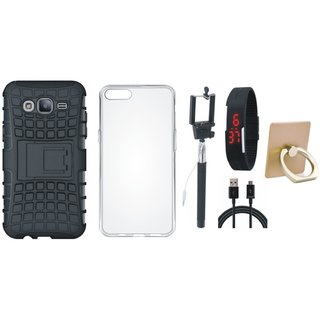 Oppo F5 Shockproof Tough Armour Defender Case with Ring Stand Holder, Silicon Back Cover, Selfie Stick, Digtal Watch and USB Cable