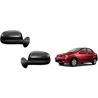 Generic Car Manual Side Rear View Mirror Assembly SET OF 2 -Mahindra Logan VXI