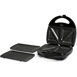 IT-321 800W 2 in 1 Grill Sandwich Maker Non-Stick  Interchangable Plates toster