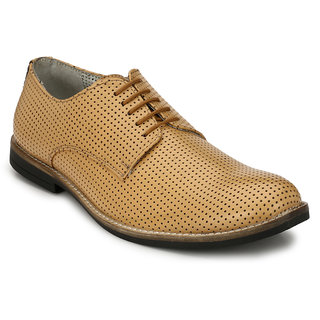 Hirels Tan Perforated Derby Genuine Leather Formal Shoes