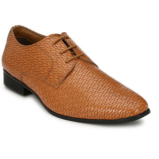 Hirels Tan Weaving Derby Synthetic Leather Formal Shoes