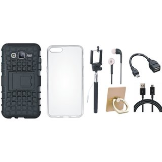 Oppo F5 Defender Tough Hybrid Shockproof Cover with Ring Stand Holder, Silicon Back Cover, Selfie Stick, Earphones, OTG Cable and USB Cable