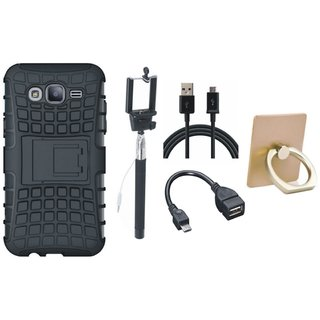 Oppo F5 Dual Protection Defender Back Case with Ring Stand Holder, Selfie Stick, OTG Cable and USB Cable