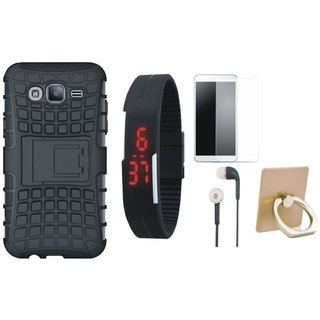 Oppo F5 Defender Back Cover with Kick Stand with Ring Stand Holder, Free Digital LED Watch, Tempered Glass and Earphones