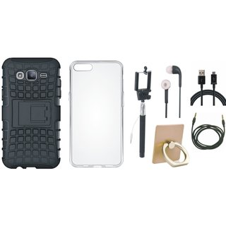 Oppo F5 Shockproof Tough Defender Cover with Ring Stand Holder, Silicon Back Cover, Selfie Stick, Earphones, USB Cable and AUX Cable