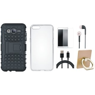 Oppo F5 Shockproof Tough Defender Cover with Ring Stand Holder, Silicon Back Cover, Earphones, Tempered Glass and USB Cable
