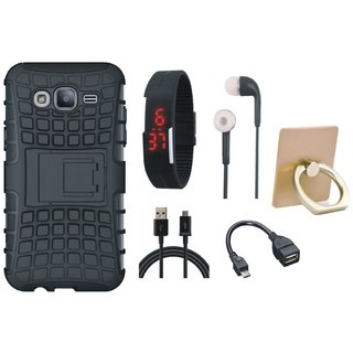 Oppo F5 Dual Protection Defender Back Case with Ring Stand Holder, Digital Watch, Earphones, OTG Cable and USB Cable