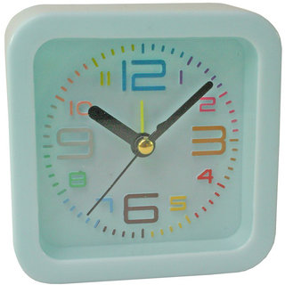 Squre Shape 9.5X9.5X3.5Cm Size Analog Alarm Clock, Off BLUE, Office Table, Kids Room Clock, Fancy Clock Set of 1 Pic-17