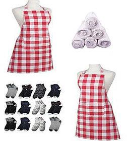 Combo - 1 kitchen Apron + 2 pair socks + 2 Face Towel