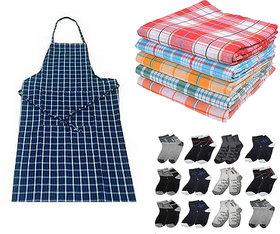 combo - 1 bath towel + 1 apron + 2 pair socks
