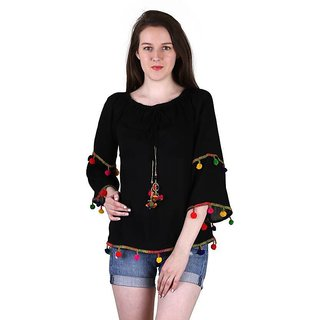 Amiable Casual 3/4th Sleeve Embroidered Women's Black Top
