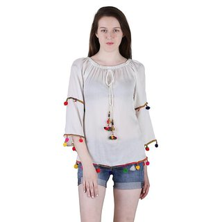 Amiable Casual 3/4th Sleeve Embroidered Women's White Top