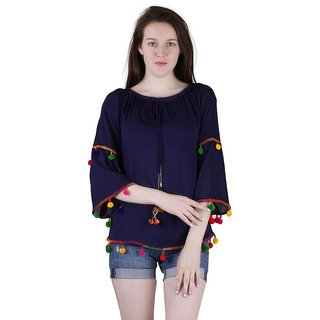 Amiable Casual 3/4th Sleeve Embroidered Women's Blue Top