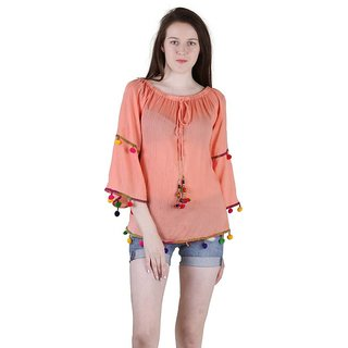 Amiable Casual 3/4th Sleeve Embroidered Women's Orange Top