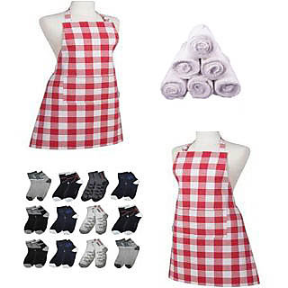 Combo - 1 kitchen Apron + 2 pair socks + 2 Face Towel