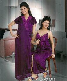Womens Sleep Set Sexy 2pc Nighty  Over Coat New Babydoll in Red 333B Gurlz Fun Night Set Dark Purple