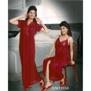 Womens Sleep Set Sexy 2pc Nighty Over Coat New Babydoll in Red 333A Gurlz  Fun Night d103c762a