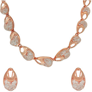 Memoir Rose Gold plated wire entrapped CZ, top designer, Stylish international fashion necklace jewellery set Women