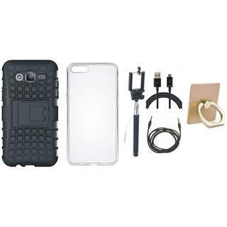 OnePlus 5T Shockproof Kick Stand Defender Back Cover with Ring Stand Holder, Silicon Back Cover, Selfie Stick, USB Cable and AUX Cable